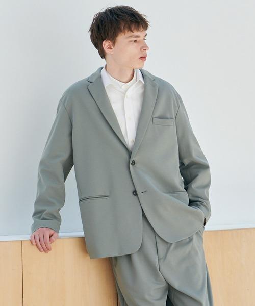 EMMA CLOTHES(エマクローズ)の「【セットアップ】梨地ルーズリラックス ドレープ オーバーサイズ テーラードジャケット/テーパードワイドパンツ EMMA CLOTHES 2020AW(セットアップ)」|グリーン系その他