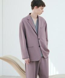 【セットアップ】梨地ルーズリラックス オーバーサイズ テーラードジャケット&テーパードワイドパンツ EMMA CLOTHES 2021 S/Sライラック