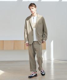 【セットアップ】梨地ルーズリラックス オーバーサイズ テーラードジャケット&テーパードワイドパンツ EMMA CLOTHES 2021 S/Sグレイッシュベージュ