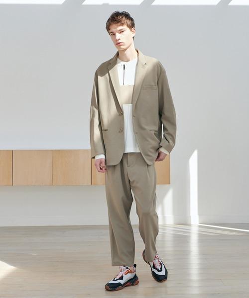 EMMA CLOTHES(エマクローズ)の「【セットアップ】梨地ルーズリラックス ドレープ オーバーサイズ テーラードジャケット/テーパードワイドパンツ EMMA CLOTHES 2020AW(セットアップ)」|グレイッシュベージュ