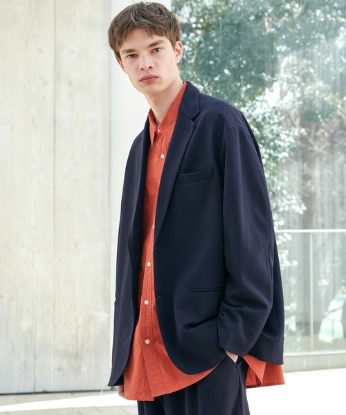 EMMA CLOTHES(エマクローズ)の「【セットアップ】梨地ルーズリラックス ドレープ オーバーサイズ テーラードジャケット/テーパードワイドパンツ EMMA CLOTHES 2020AW(セットアップ)」|ダークネイビー