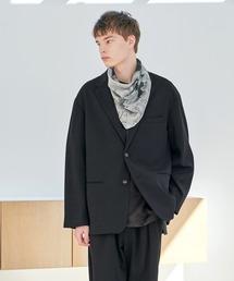 【セットアップ】梨地ルーズリラックス オーバーサイズ テーラードジャケット&テーパードワイドパンツ EMMA CLOTHES 2021 S/Sブラック