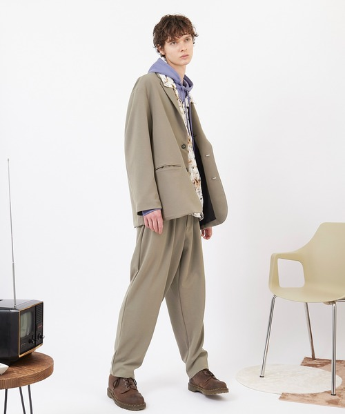 EMMA CLOTHES(エマクローズ)の「【セットアップ】梨地ルーズリラックス ドレープ オーバーサイズ テーラードジャケット/テーパードワイドパンツ EMMA CLOTHES 2020AW(セットアップ)」|詳細画像