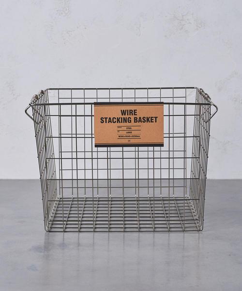 <ENTREX>ワイヤー スタッキング バスケット L