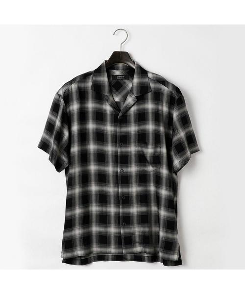 COMME CA ISM(コムサイズム)の「オンブレー チェック オープンカラー シャツ(シャツ/ブラウス)」|ブラック