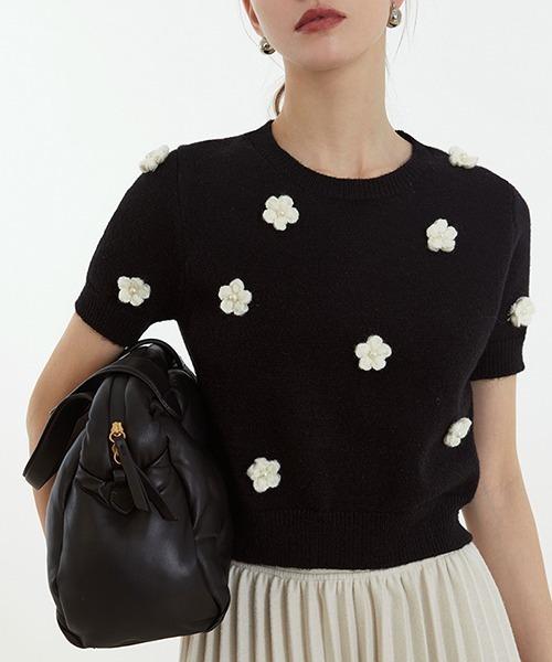 【Fano Studios】【2021SS】Flower motif knit T-shirts FC21S150