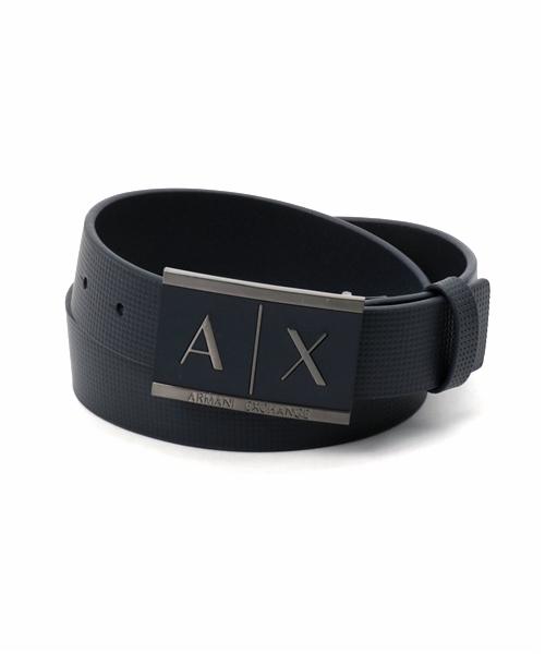 【AX アルマーニ エクスチェンジ】A|Xロゴプレートバックル  ベルト