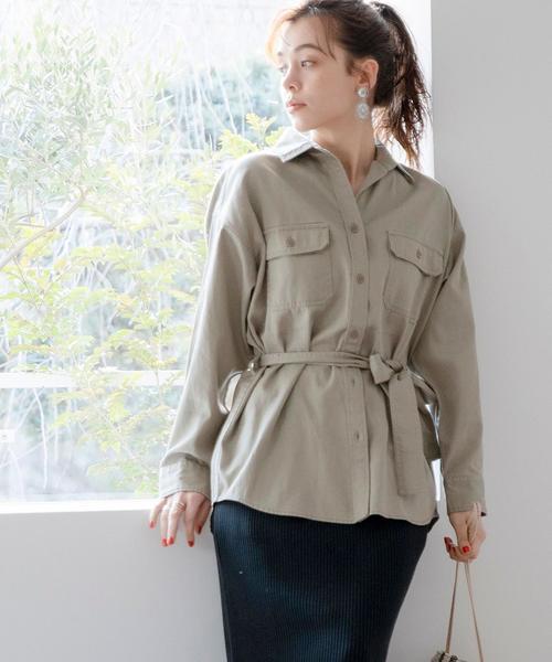 【セットアップ対応】ウエストベルトオーバーシャツジャケット