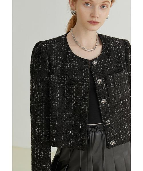 【Fano Studios】【2021AW】Tweed puff sleeve jacket FQ21W101