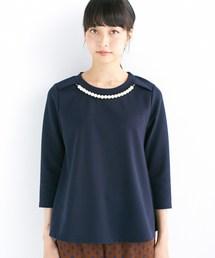 haco!(ハコ)の忙しい朝の味方 華やかパールネックレス付きAライントップス(Tシャツ/カットソー)