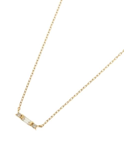 K18ダイヤモンド バゲットカット×サイドメレ ネックレス