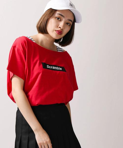 WEGO/BOXロゴオフショルレイヤードTシャツ