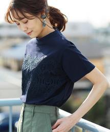 coen(コーエン)の【WEB限定復刻・新色ネイビー登場】レースドッキングTシャツ(Tシャツ/カットソー)