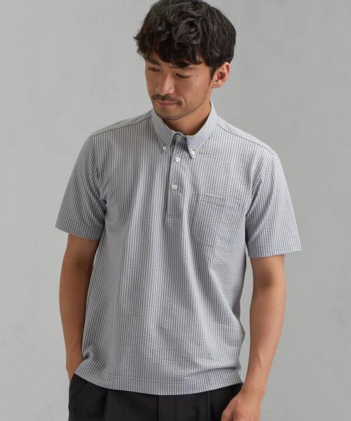 NM ドライサッカー ボタンダウン 半袖 ポロシャツ <機能性生地/吸水速乾>