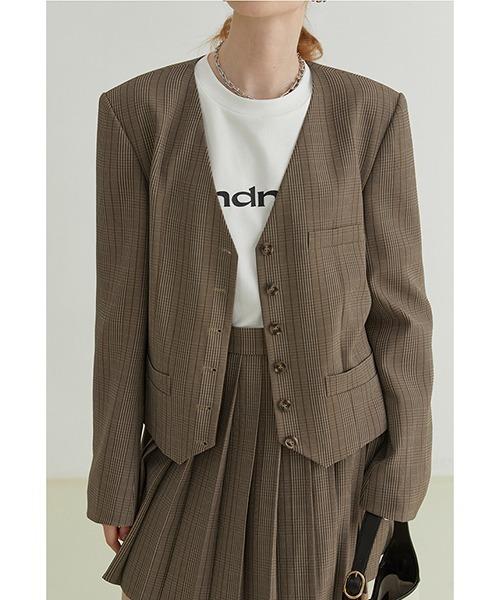 【Fano Studios】【2021AW】V-neck plaid suit jacket FQ21W106