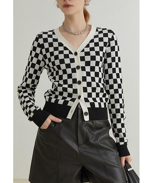 【Fano Studios】【2021AW】Checkerboard v-neck cardigan FQ21S046