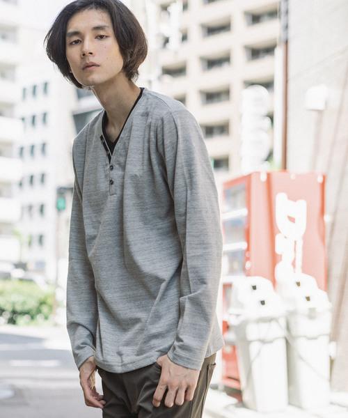 NOTA BENE/ノータベネ ジャガードワッフル フェイクレイヤード 長袖Tシャツ
