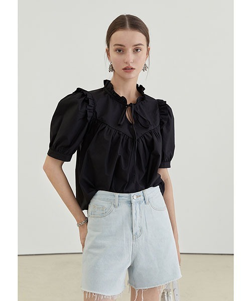 【Fano Studios】【2021SS】Ruffled collar and tie top blouse FX21S218