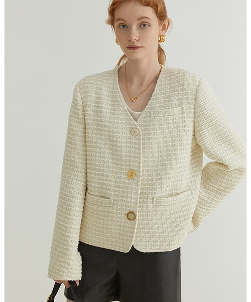 【Fano Studios】【2021AW】V-neck tweed jacket FQ21W052