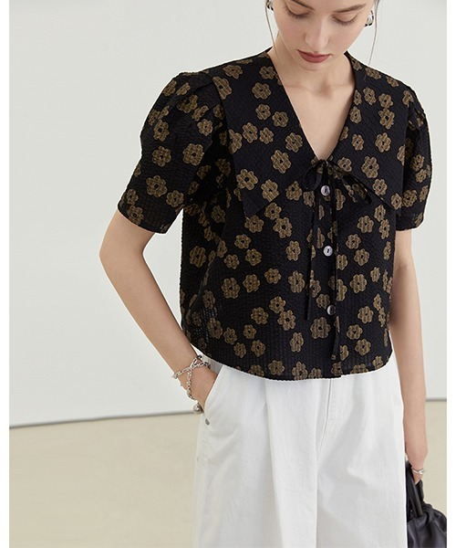【Fano Studios】【2021SS】Sailor collar floral shirt FX21S263