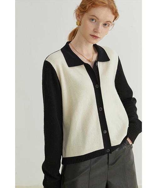 【Fano Studios】【2021AW】Contrast twotone sweater cardigan FQ21S104