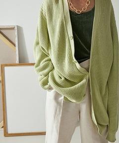 【MIX SEVEN】【2021AW】Apple Green Vneck Cardigan MX21S46