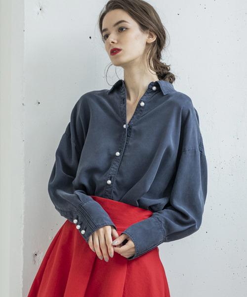 Emma Taylor(エマテイラー)の「【STYLEBAR】サンドウォッシュパールボタンシャツ(シャツ/ブラウス)」|ネイビー