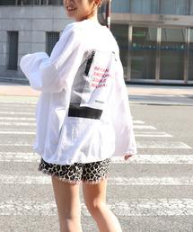 "via j(ヴィアジェイ)のvia j(ヴィアジェイ) ""weekend back""プリントロングTシャツ(Tシャツ/カットソー)"