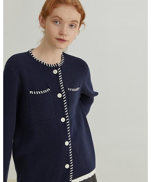 【Fano Studios】【2021AW】White stitch knit cardigan FQ21S110