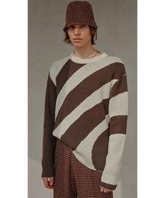 【MIX SEVEN】【2021AW】Original Stripe Drop Shoulder Sweater MX21S47