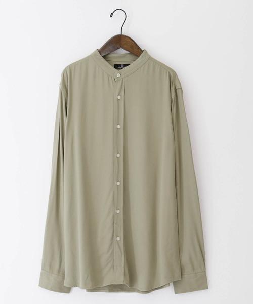 ブライトレーヨンL/Sリラックスバンドカラーシャツ(MONO-MART)