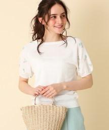 couture brooch(クチュールブローチ)の【WEB限定サイズ(S・LL)あり】【手洗い可】フラワー刺しゅうスリーブニットプルオーバー(ニット/セーター)