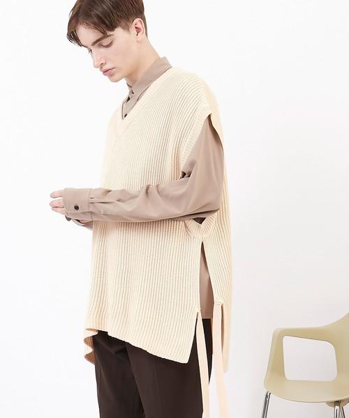 オーバーサイズ ステッチ 配色 サイドスリット ムスビ  Vネック ニットベスト(EMMA CLOTHES)