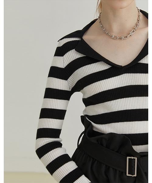 【Fano Studios】【2021AW】Open collar striped rib knit FQ21S108