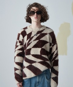 【MIX SEVEN】【2021AW】Optical Pattern Feather Sweater MX21S48