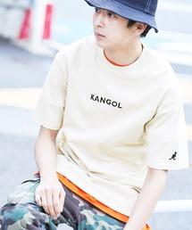 ▽WEB限定 MONO-MART×KANGOL 別注ロゴ刺繍 プリント半袖Tee オーバーサイズカットソーグレー系その他