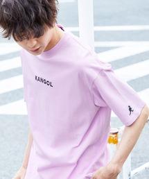 ▽WEB限定 MONO-MART×KANGOL 別注ロゴ刺繍 プリント半袖Tee オーバーサイズカットソーライトパープル