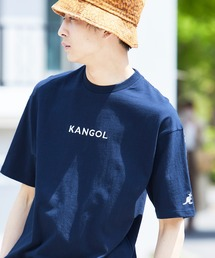 ▽WEB限定 MONO-MART×KANGOL 別注ロゴ刺繍 プリント半袖Tee オーバーサイズカットソーネイビー