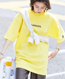 ▽WEB限定 MONO-MART×KANGOL 別注ロゴ刺繍 プリント半袖Tee オーバーサイズカットソーライトイエロー