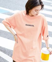 ▽WEB限定 MONO-MART×KANGOL 別注ロゴ刺繍 プリント半袖Tee オーバーサイズカットソーオレンジ系その他