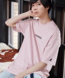 ▽WEB限定 MONO-MART×KANGOL 別注ロゴ刺繍 プリント半袖Tee オーバーサイズカットソーライトピンク