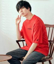 ▽WEB限定 MONO-MART×KANGOL 別注ロゴ刺繍 プリント半袖Tee オーバーサイズカットソーレッド
