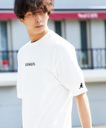 ▽WEB限定 MONO-MART×KANGOL 別注ロゴ刺繍 プリント半袖Tee オーバーサイズカットソーホワイト