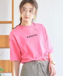 ▽WEB限定 MONO-MART×KANGOL 別注ロゴ刺繍 プリント半袖Tee オーバーサイズカットソーピンク