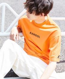 ▽WEB限定 MONO-MART×KANGOL 別注ロゴ刺繍 プリント半袖Tee オーバーサイズカットソーオレンジ