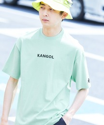 ▽WEB限定 MONO-MART×KANGOL 別注ロゴ刺繍 プリント半袖Tee オーバーサイズカットソーライトグリーン