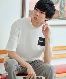 ▽WEB限定 MONO-MART×KANGOL 別注ロゴ刺繍 プリント半袖Tee オーバーサイズカットソーホワイト系その他3