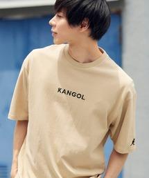 ▽WEB限定 MONO-MART×KANGOL 別注ロゴ刺繍 プリント半袖Tee オーバーサイズカットソーサンドベージュ