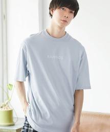 ▽WEB限定 MONO-MART×KANGOL 別注ロゴ刺繍 プリント半袖Tee オーバーサイズカットソーライトブルー