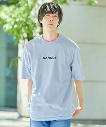 ▽WEB限定 MONO-MART×KANGOL 別注ロゴ刺繍 プリント半袖Tee オーバーサイズカットソーブルーグレー